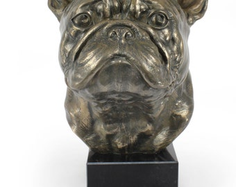 French Bulldog, dog statue on marble base, limited edition, ArtDog. Made of cold cast bronze. Perfect gift. Limited edition
