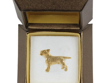 NEW, Bull Terrier, dog pin, in casket, gold plated, limited edition, ArtDog