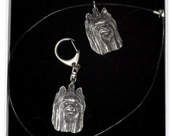 NEW, York Terrier, dog keyring and necklace in casket, ELEGANCE set, limited edition, ArtDog . Dog keyring for dog lovers