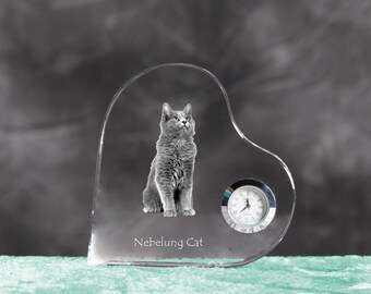 Nebelung- crystal clock in the shape of a heart with the image of a pure-bred cat.