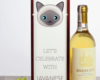 Let's celebrate with Javanese cat. A wine box with the cute Art-Dog cat