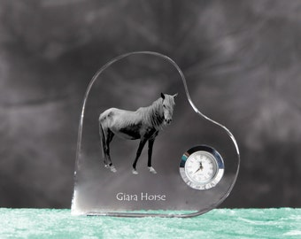 Giara horse- crystal clock in the shape of a heart with the image of a pure-bred horse.