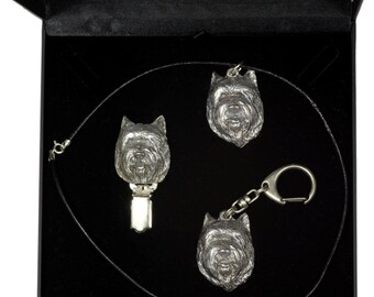 NEW, Cairn Terrier, dog keyring, necklace and clipring in casket, DELUXE set, limited edition, ArtDog . Dog keyring for dog lovers