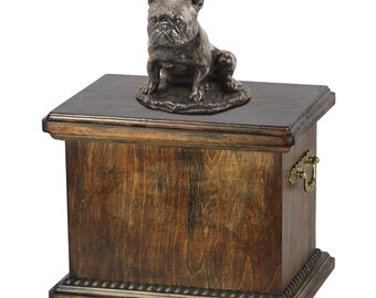 Urn for dog's ashes with a French Bulldog sitting statue, ART-DOG Cremation box, Custom urn.