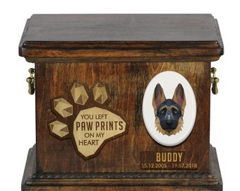 Urn for dog ashes with ceramic plate and sentence - Geometric German Shepherd, ART-DOG. Cremation box, Custom urn.