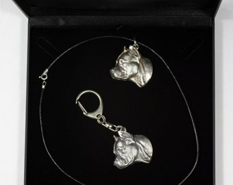 NEW, American Staffordshire Terrier (no collar), dog keyring and necklace in casket, DELUXE set, limited edition, ArtDog