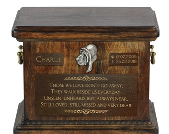 Urn for dog's ashes with relief and sentence with your dog name and date - Bloodhound, ART-DOG. Cremation box, Custom urn.
