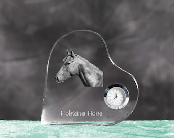 Holsteiner- crystal clock in the shape of a heart with the image of a pure-bred horse.