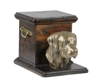 Urn for dog's ashes with a standing statue -Labrador Retriever, ART-DOG. Cremation box, Custom urn.