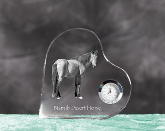 Namib Desert Horse- crystal clock in the shape of a heart with the image of a pure-bred horse.