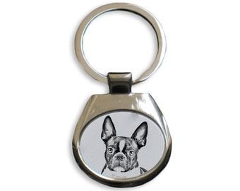 Boston Terrier - NEW collection of keyrings with images of purebred dogs, unique gift, sublimation . Dog keyring for dog lovers