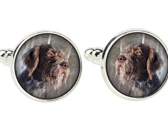 German Wirehaired Pointer. Cufflinks for dog lovers. Photo jewellery. Men's jewellery. Handmade