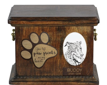 Urn for dog's ashes with ceramic plate and description - Beauceron, ART-DOG Cremation box, Custom urn.