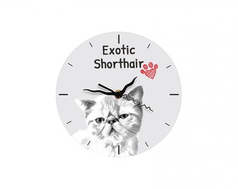 Exotic Shorthair, Free standing MDF floor clock with an image of a cat.