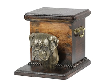 Urn for dog's ashes with a standing statue -Boxer, ART-DOG