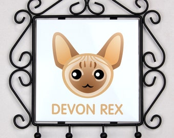 A key rack, hangers with Devon rex cat. A new collection with the cute Art-dog cat