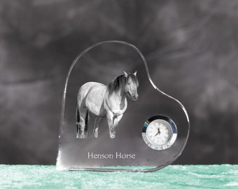 Henson- crystal clock in the shape of a heart with the image of a pure-bred horse.