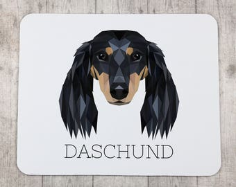 A computer mouse pad with a Dachshund dog. A new collection with the geometric dog
