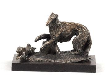 Borzoi, dog wooden base statue, limited edition, ArtDog