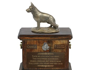German Shepherd - Exclusive Urn for dog ashes with a statue, relief and inscription. ART-DOG. Cremation box, Custom urn.