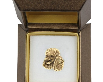 NEW, Poodle, dog pin, in casket, gold plated, limited edition, ArtDog