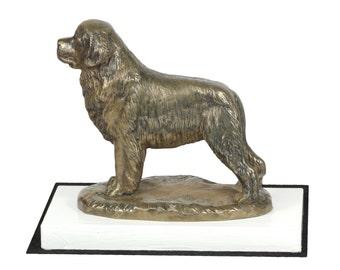Newfoundland, dog on white wooden base statue, limited edition, ArtDog