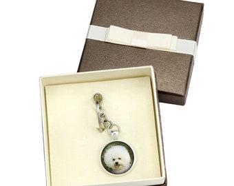 Bichon Frise. Keyring, keychain with box for dog lovers. Photo jewellery. Men's jewellery. Handmade.