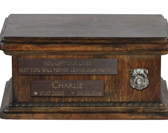 Urn for dog's ashes with relief and sentence with your dog name and date - Griffon, ART-DOG. Low model. Cremation box, Custom urn.