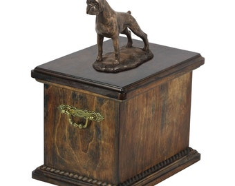 Urn for dog's ashes with a Boxer cropped statue, ART-DOG Cremation box, Custom urn.
