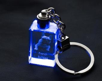 French Bulldog, Dog Crystal Keyring, Keychain, High Quality, Exceptional Gift . Dog keyring for dog lovers