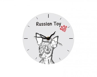 Russian Toy, Free standing MDF floor clock with an image of a dog.
