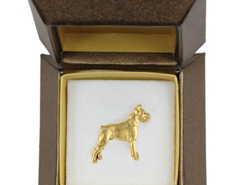 NEW, Boxer, dog pin, in casket, gold plated, limited edition, ArtDog