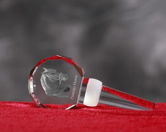 Friesian, Crystal Wine Stopper with Horse, Wine and Horse Lovers, High Quality, Exceptional Gift. New Collection