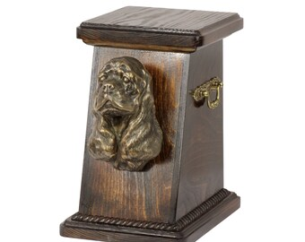 Urn for dog's ashes with a American Cocker Spaniel statue, ART-DOG Cremation box, Custom urn.