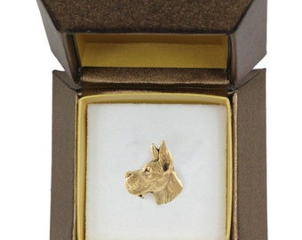NEW, Great Dane, dog pin, in casket, gold plated, limited edition, ArtDog