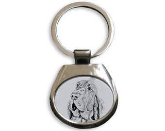 Bloodhound  - NEW collection of keyrings with images of purebred dogs, unique gift, sublimation . Dog keyring for dog lovers