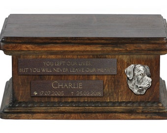Urn for dog's ashes with relief and sentence with your dog name and date - Bullmastiff, ART-DOG. Low model. Cremation box, Custom urn.