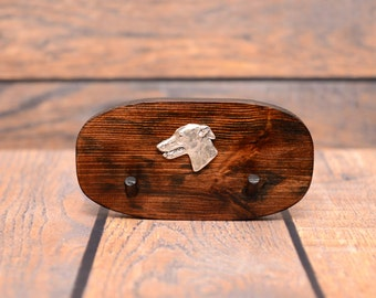 Grey Hound - Unique wooden hanger with a relief of a purebred dog. Perfect for a collar, harness or leash.