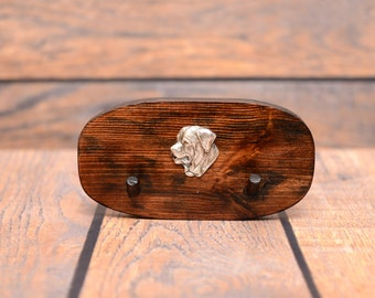 Tosa - Unique wooden hanger with a relief of a purebred dog. Perfect for a collar, harness or leash.