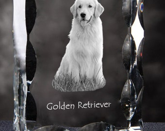 Golden Retriever, Cubic crystal with dog, souvenir, decoration, limited edition, Collection