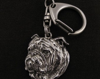 Bulldog, dog keyring, keychain, limited edition, ArtDog . Dog keyring for dog lovers