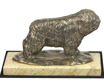 Polish Lowland Sheepdog , dog sand marble base statue, limited edition, ArtDog. Made of cold cast bronze. Perfect gift. Limited edition