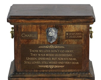 Urn for dog's ashes with relief and sentence with your dog name and date - Dutch retriever, ART-DOG.. Cremation box, Custom urn.