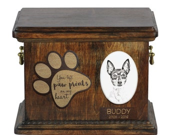 Urn for dog's ashes with ceramic plate and description - Toy Fox Terrier, ART-DOG