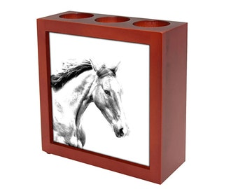 Irish Sport Horse -  Wooden stand for candles/pens with the image of a Horse ! NEW COLLECTION!