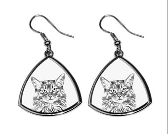 Somali, collection of earrings with images of purebred cats, unique gift. Collection!