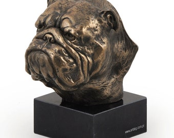 English British Bulldog, dog marble statue, limited edition, ArtDog. Made of cold cast bronze. Perfect gift. Limited edition