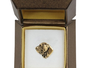 NEW, Brazilian Mastiff, dog pin, in casket, gold plated, limited edition, ArtDog