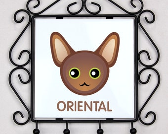 A key rack, hangers with Oriental cat. A new collection with the cute Art-dog cat