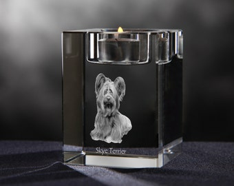 Skye terrier - crystal candlestick with dog, souvenir, decoration, limited edition, Collection